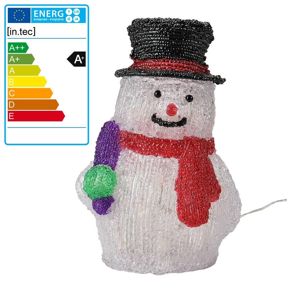 [in.tec]® Svietiaci snehuliak - vianočná dekorácia - 32 LED