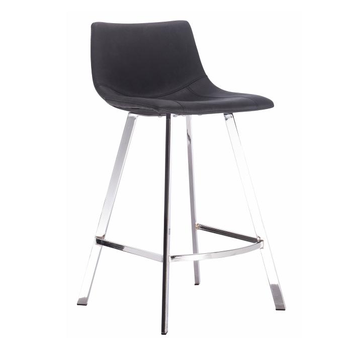 TEMPO KONDELA Barová stolička, čierna látka s efektom brúsenej kože, DERON