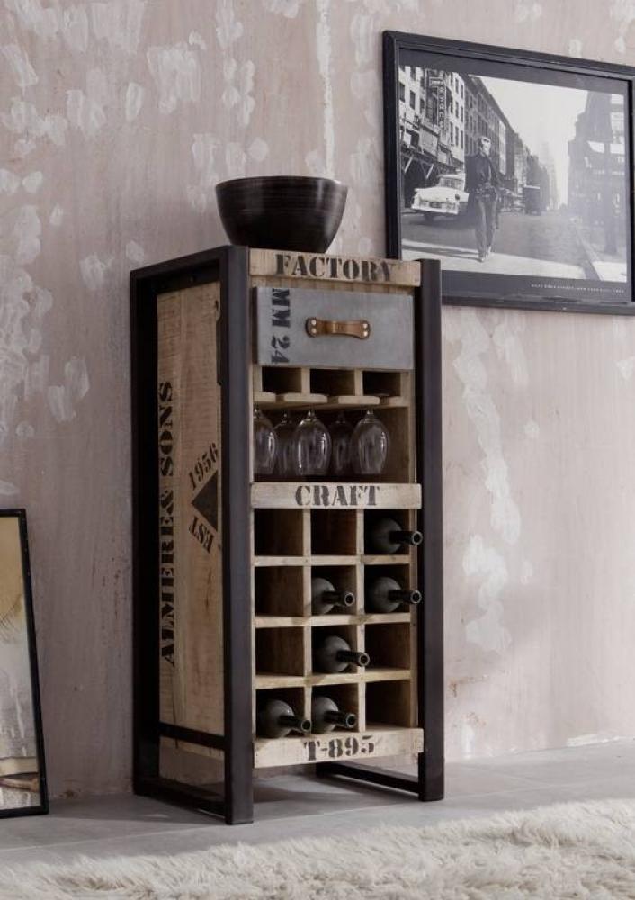 FACTORY regál na víno #135, liatina a mangové drevo, potlač