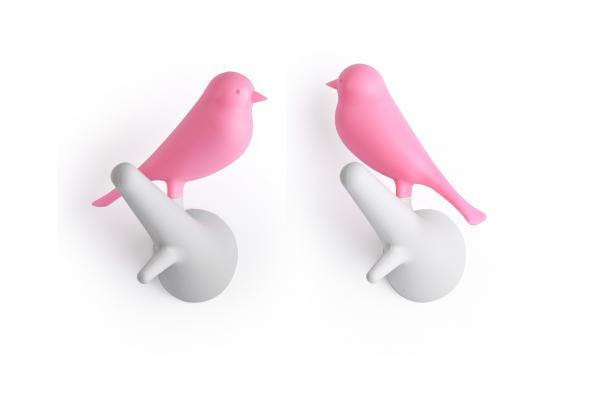 Nástenný vešiak Qualy Hook Sparrow, 2ks, biely-ružový