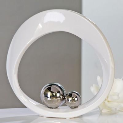Dekoratívna soška SPIN - biela/strieborná