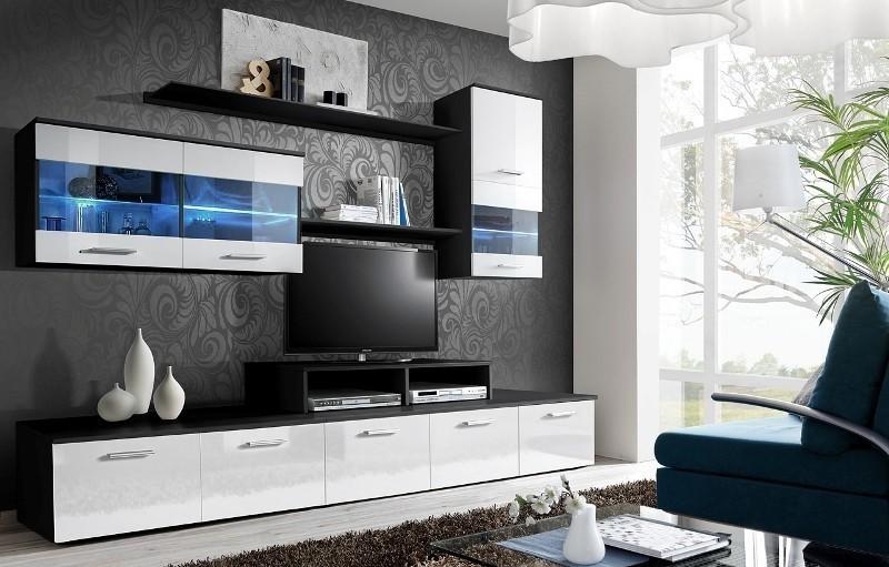 ASM LOGO II ZW obývacia stena - čierna / biely vysoký lesk