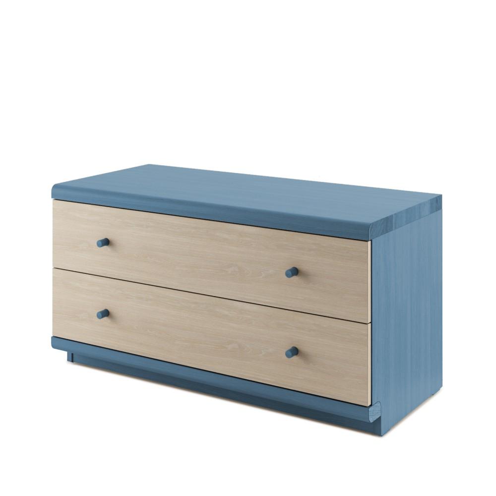 Modrá komoda z masívneho dubového dreva s 2 zásuvkami JELÍNEK Amanta