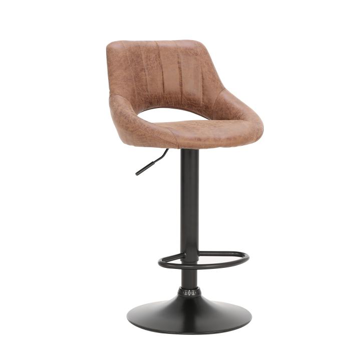 TEMPO KONDELA Barová stolička, hnedá látka s efektom brúsenej kože, LORASA