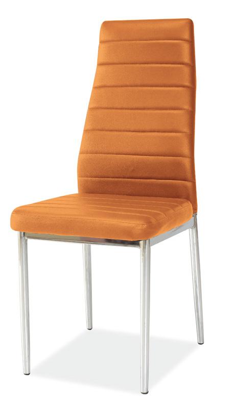 Jedálenská stolička VERME, oranžová/chróm