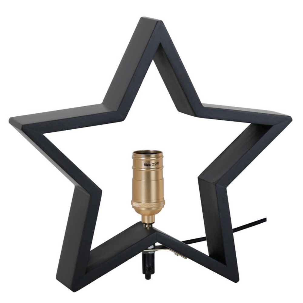 Čierna drevená svietiaca hviezda Best Season Lysekil, 30 x 29 cm