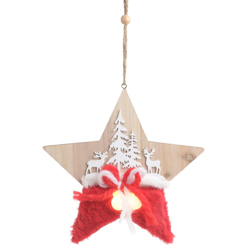 Vianočná drevená svetelná dekorácia v tvare hviezdy InArt Olivia