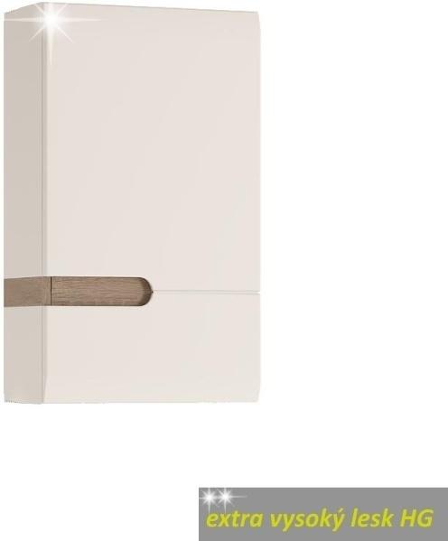 Skrinka horná, pravé prevedenie, biela, extra vysoký lesk, LYNATET TYP 157
