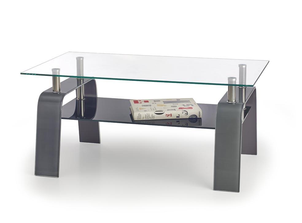 Konferenčný stolík Naomi (sklo + sivá + čierna)