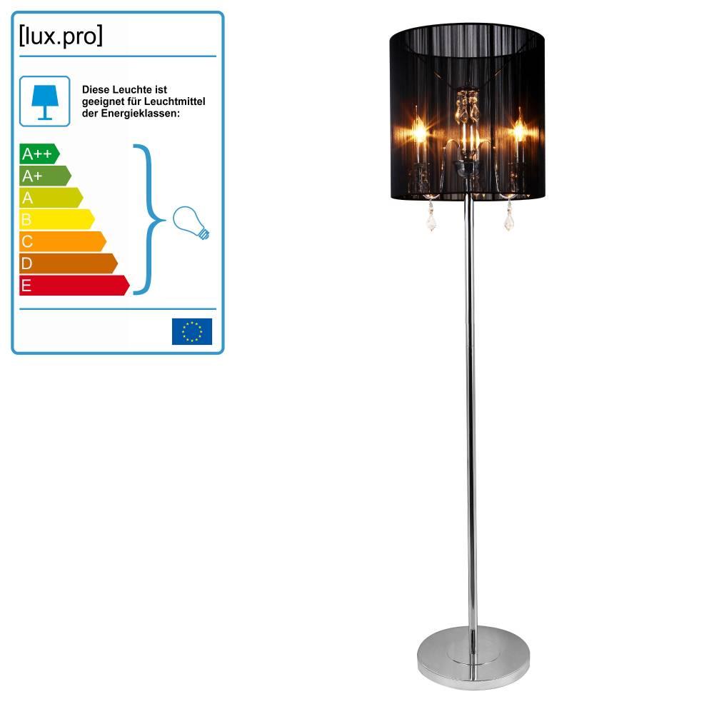 [lux.pro]® Elegantná stojaca lampa - Fabrica 3 x E 14 – 42W - chrómová / čierna