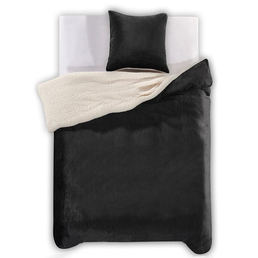 Čierne obliečky z mikrovlákna DecoKing Teddy, 135×200cm