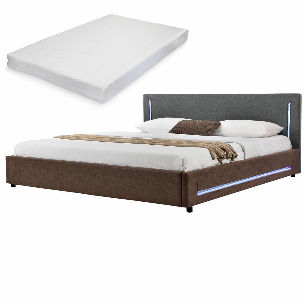 [my.bed] Elegantná manželská posteľ s LED osvetlením - matrac zo studenej HR peny - 180x200cm (Záhlavie: textil sivá / Rám: alcantara koženka hnedá) - s roštom