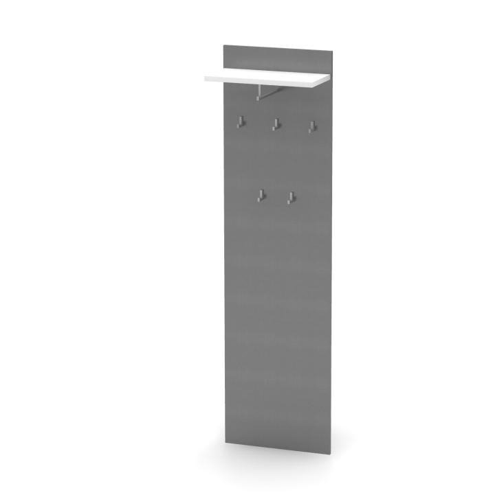 TEMPO KONDELA Vešiakový panel, grafit/biela, RIOMA TYP 19