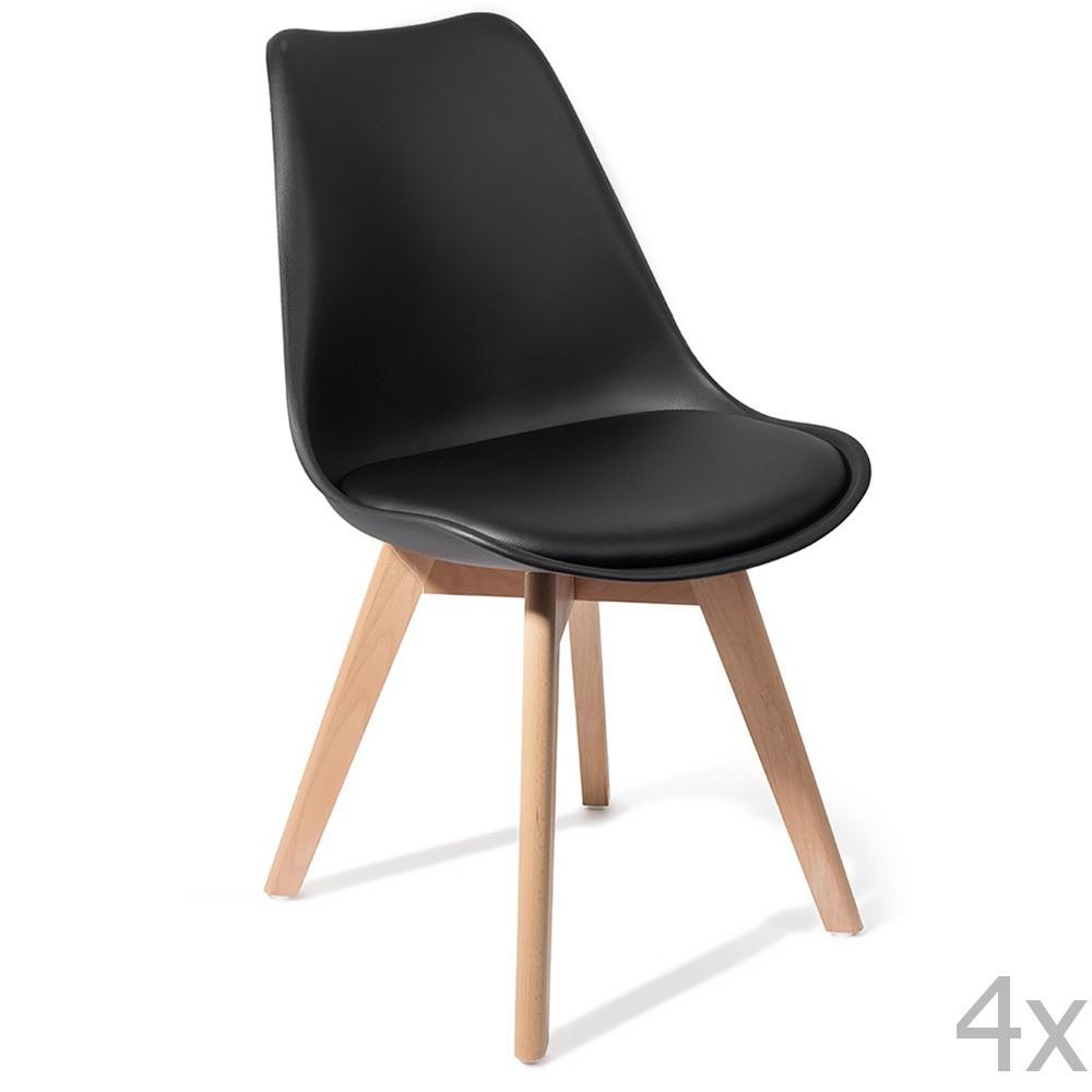 Sada 4 čiernych stoličiek Tomasucci Kiki Evo