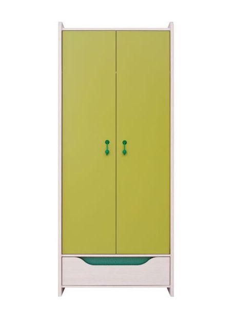 Šatníková skriňa Hihot SZF2D1S   Farba: dub jasný belluno/ zelená