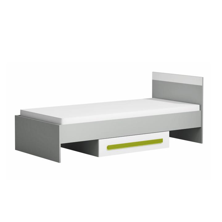 TEMPO KONDELA PIERE P12 90 posteľ s úložným priestorom - sivá / biela / zelená