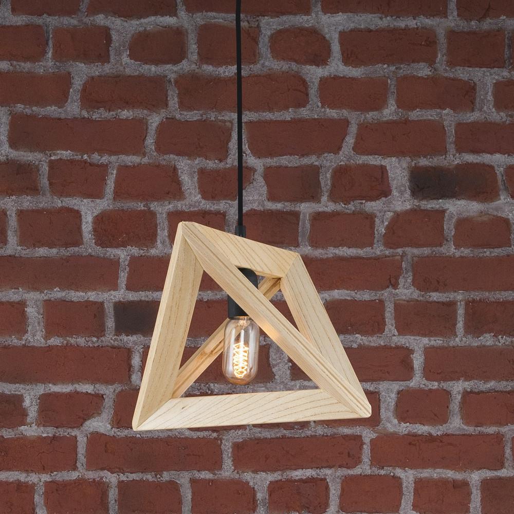 Drevené závesné svietidlo Geometry