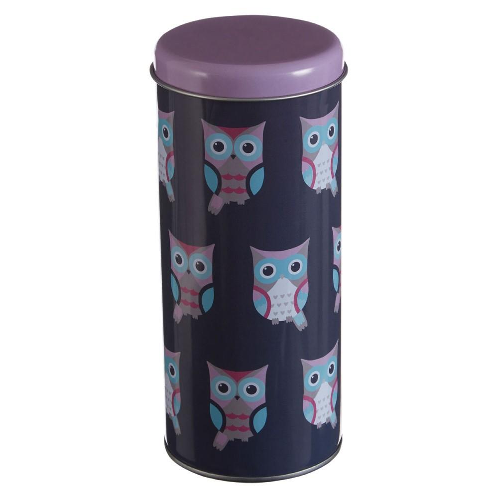 Valcovitá cínová dóza Premier Housewares Happy Owls, Ø 8×18 cm