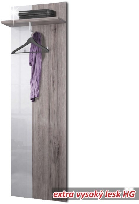 TEMPO KONDELA RACHEL vešiakový panel - dub canyon / biely vysoký lesk