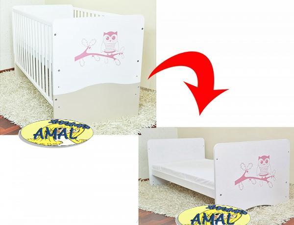 AMAL predĺžená postieľka/váľanda SOVA, 140x70 cm, s potlačou