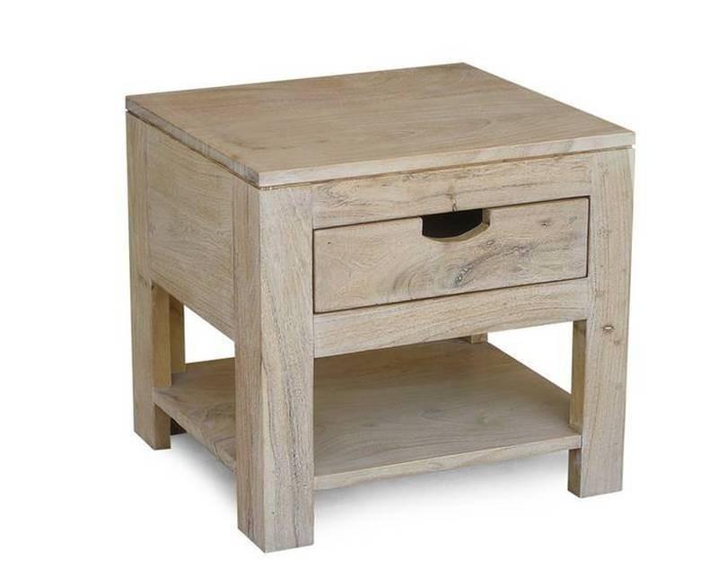 Bighome - WHITE WOOD nočný stolík lakovaný akáciový nábytok