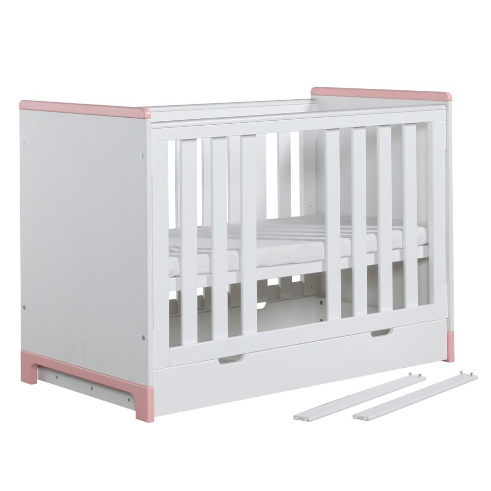 Bielo-ružová detská postieľka Pinio Mini, 120×60cm