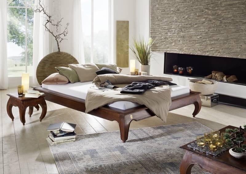 Bighome - ORIENT posteľ akácia, nugátová 200x200cm
