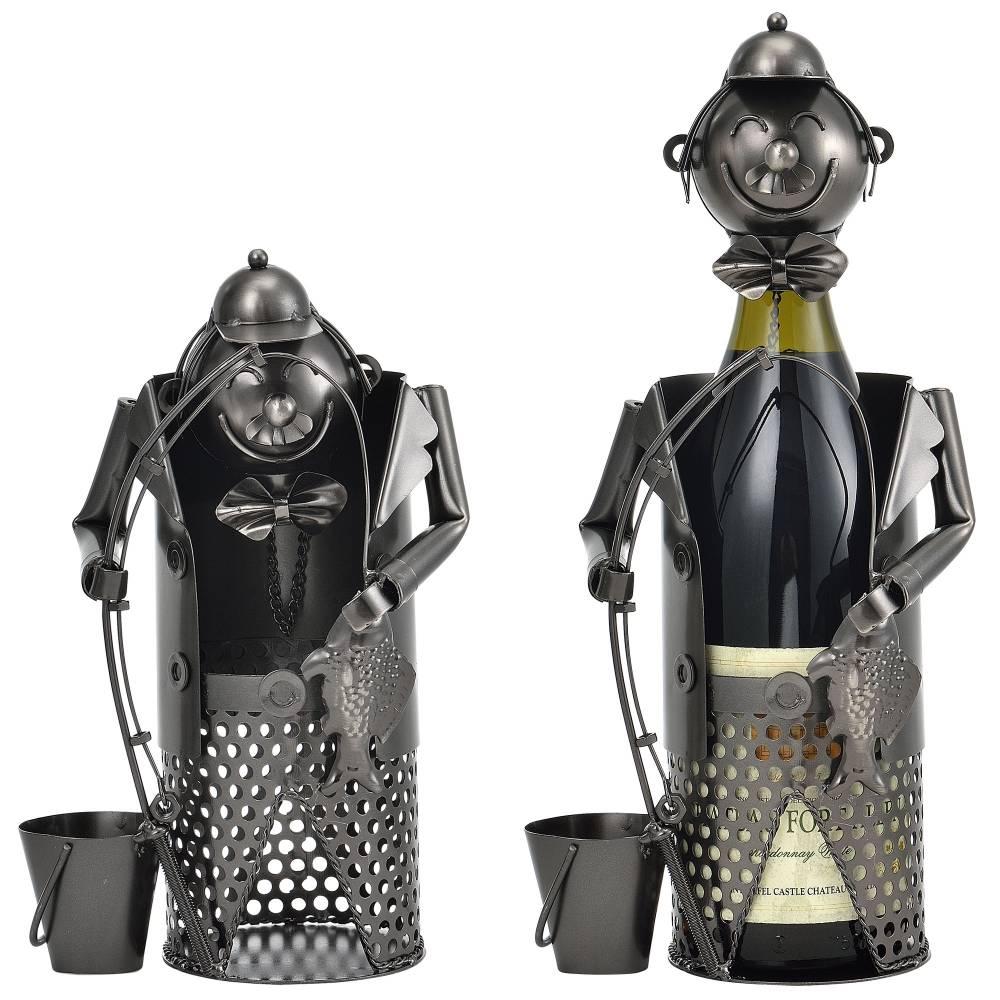 [en.casa]® Stojan na víno - 40 - 5 x 15 - 8 x 22 cm -   strieborný