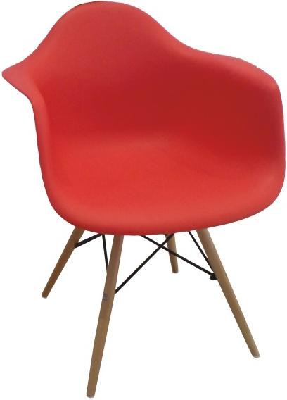 Stolička - kreslo, červená+buk, DAMEN NEW