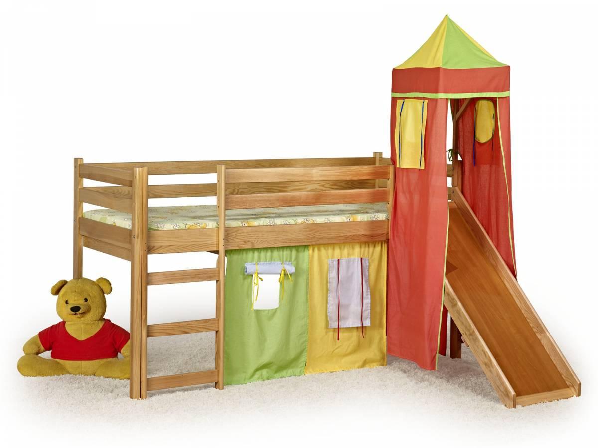 Poschodová posteľ 80 cm Flo Jelša (masív, s roštom a matracom)