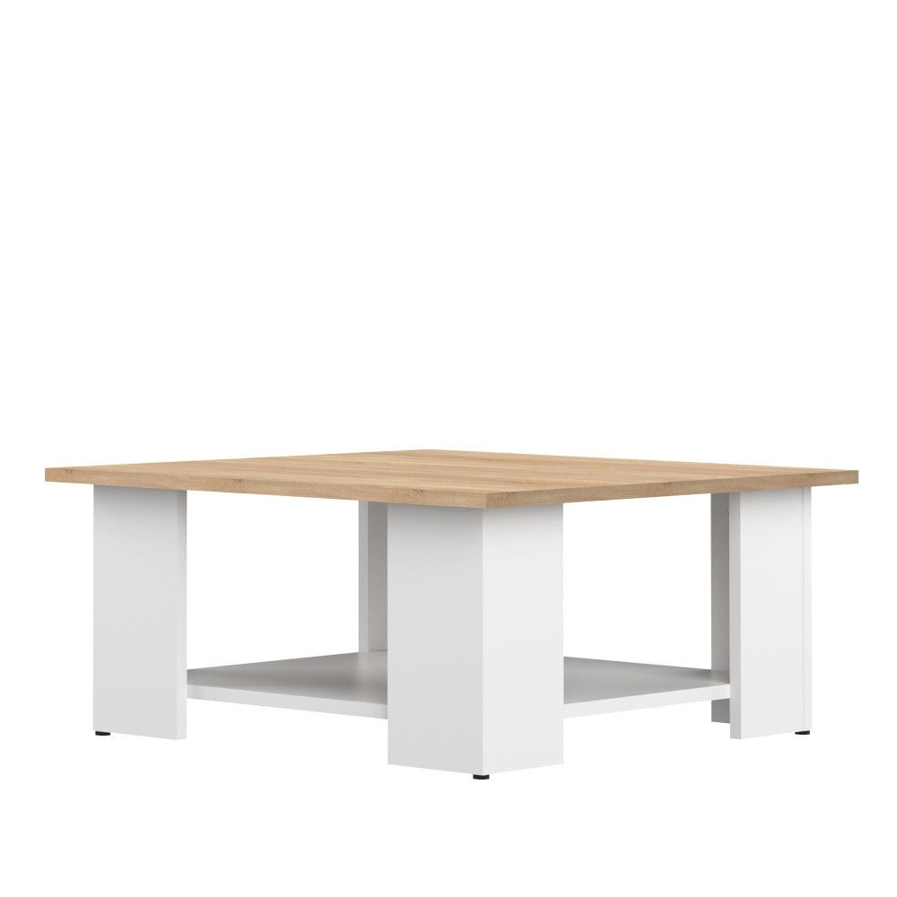 Biely konferenčný stolík s doskou v dekore bukového dreva Symbiosis Square, 67 × 67 cm