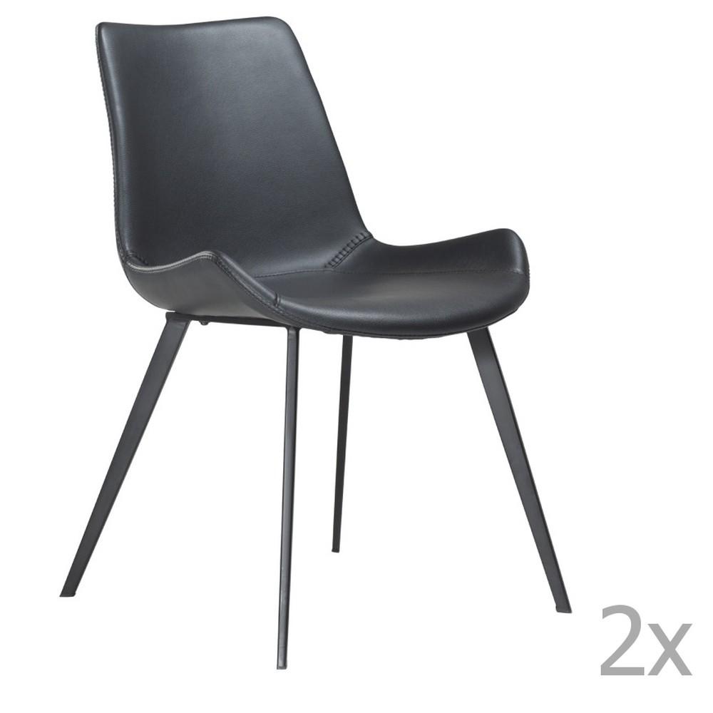 Sada 2 čiernych jedálenských stoličiek DAN– FORM Hype Faux