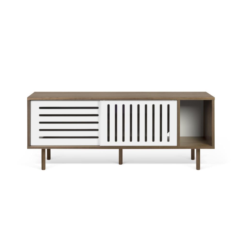 TV komoda v dekore orechového dreva s bielymi detailmi TemaHome Dann Stripes, dĺžka 165 cm