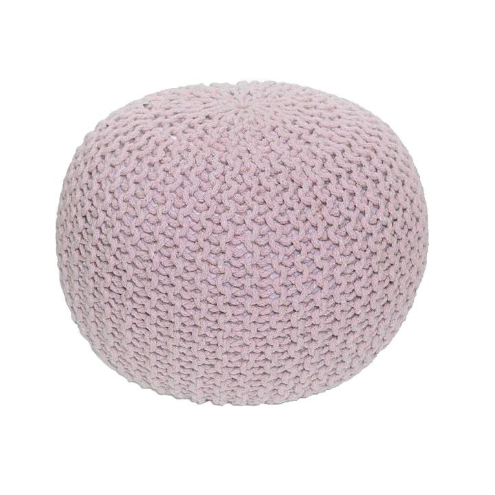 TEMPO KONDELA Pletený taburet, púdrová ružová bavlna,, GOBI TYP 2