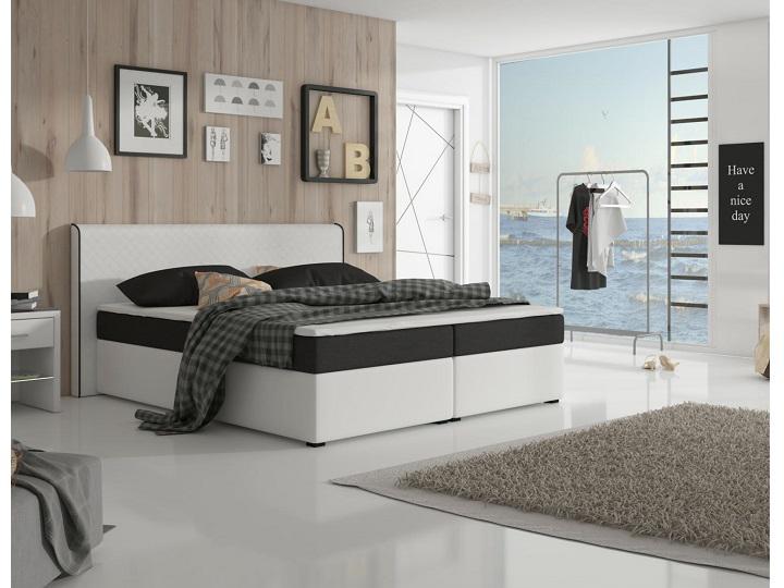 Manželská posteľ Boxspring 160 cm Novara Megakomfort Visco (biela + čierna) (s matracom a roštom)