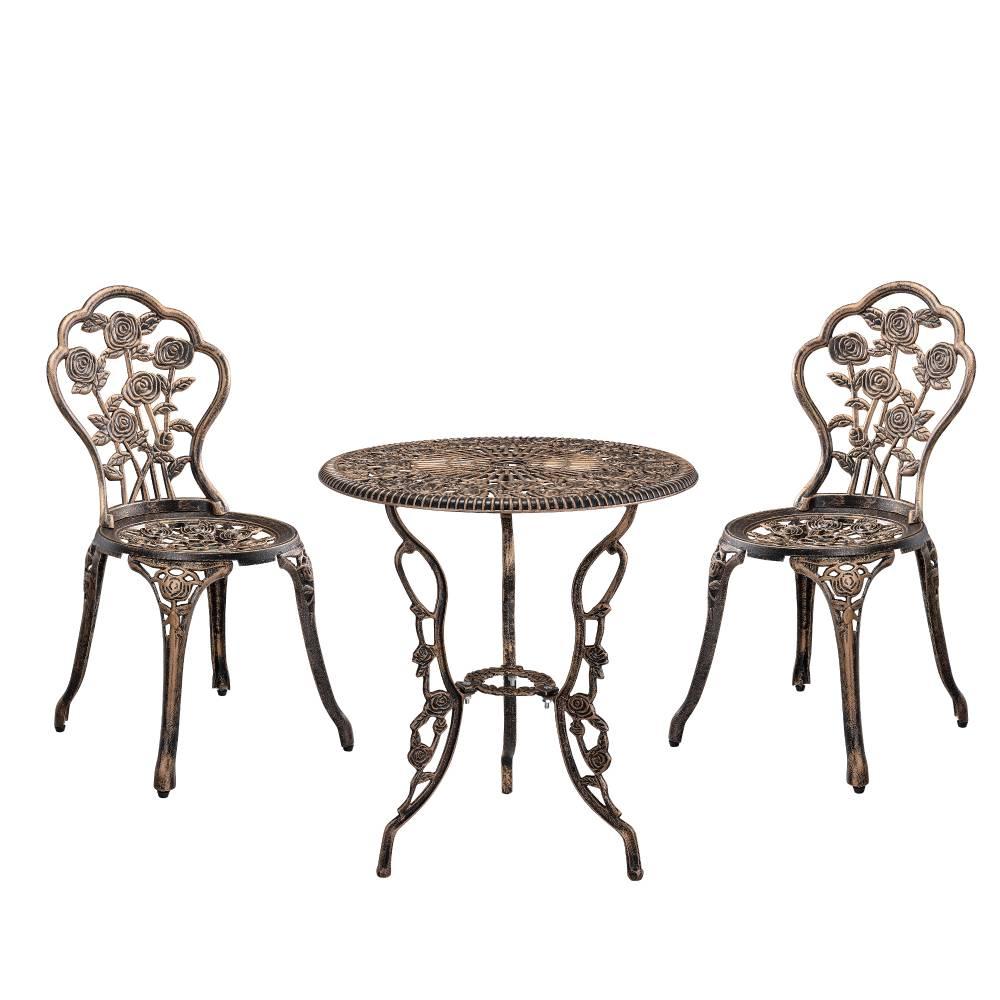[casa.pro]® Záhradná bistro sada - 1 x stolík + 2 x stolička - bronz