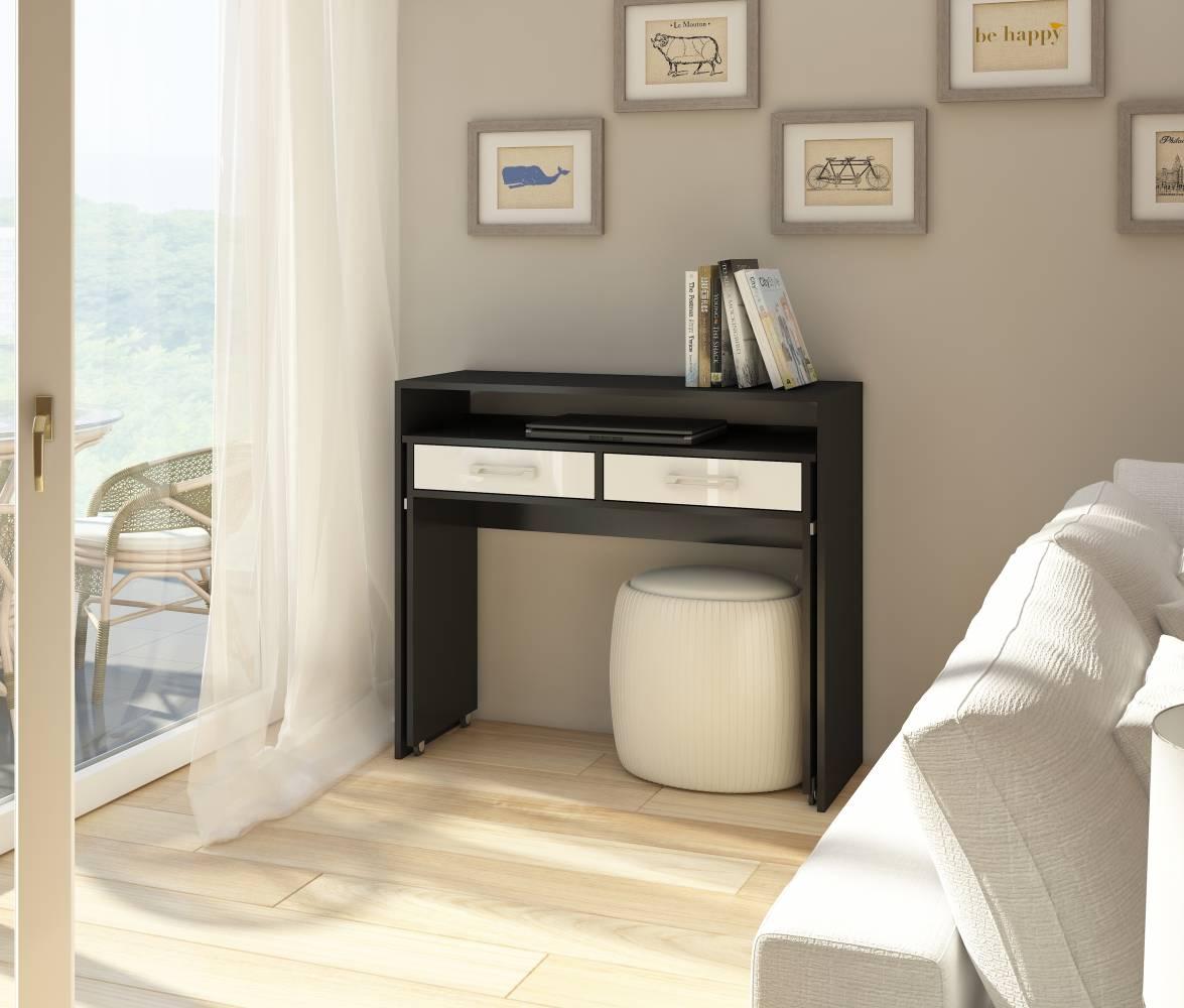 PC stolík Zoom čierna + lesk biely