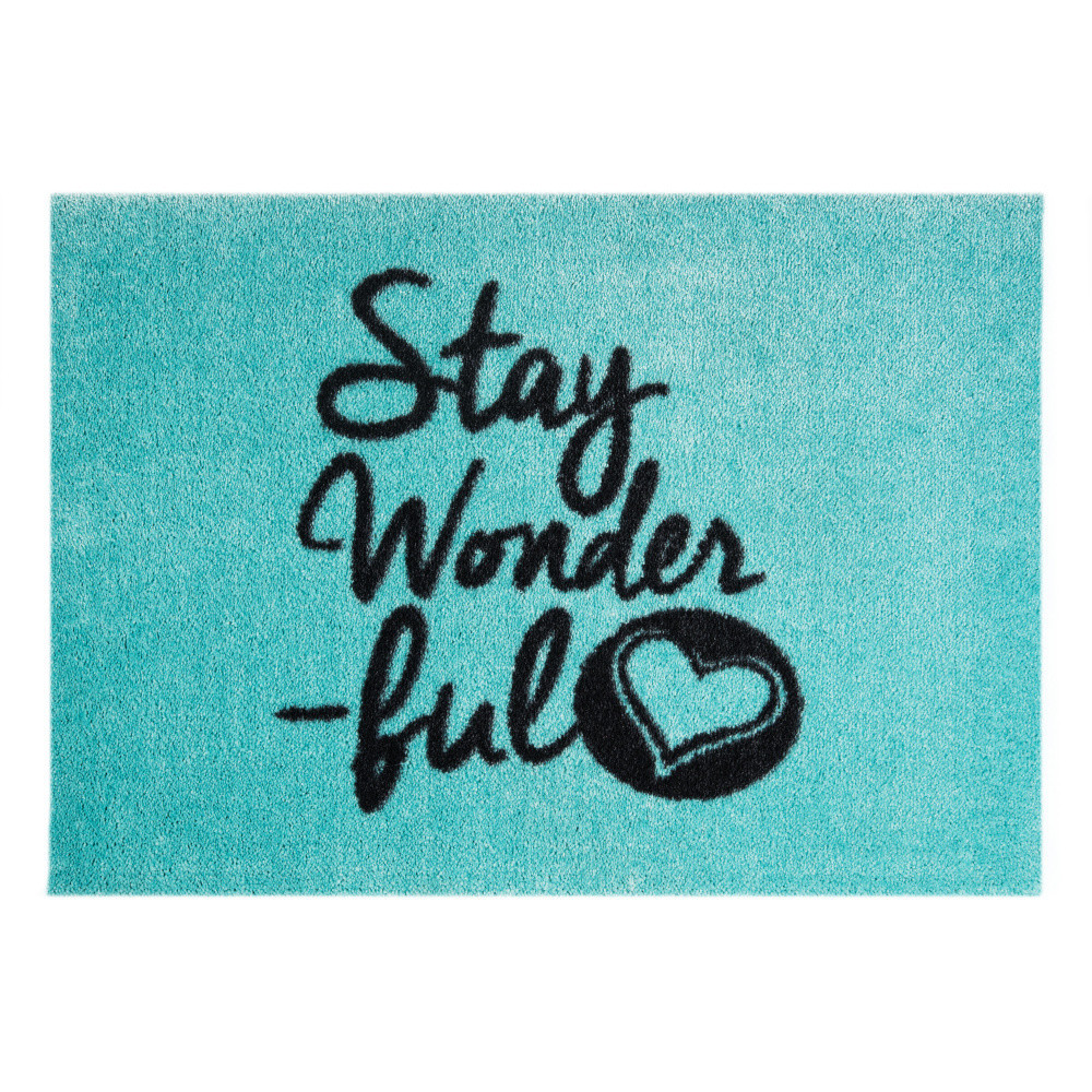 Modrá rohožka Mint Rugs  StateMat Stay Wonderful, 50x75cm