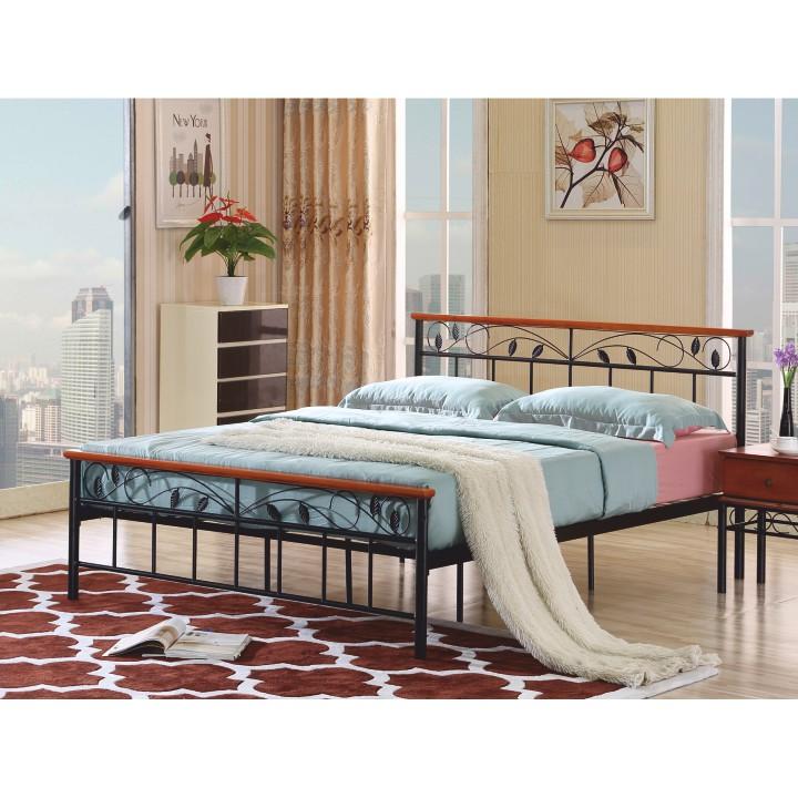 TEMPO KONDELA MORENA 160 posteľ s roštom - čierny kov / čerešňa
