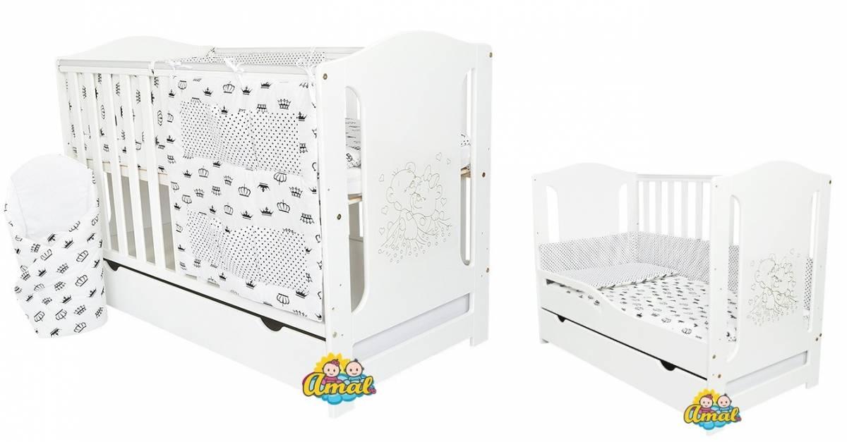 AMAL DeLUX 10-dielny komplet:Multifunkčná postieľka OLIVIA+matrac+súprava KLASIK