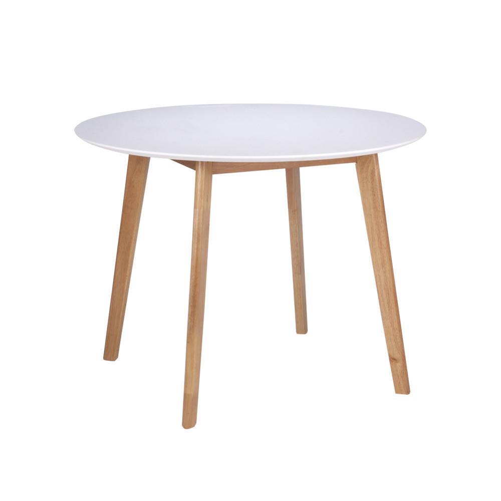 Biely jedálenský stôl snohami zdreva kaučukovníka sømcasa Monna, ⌀ 100cm