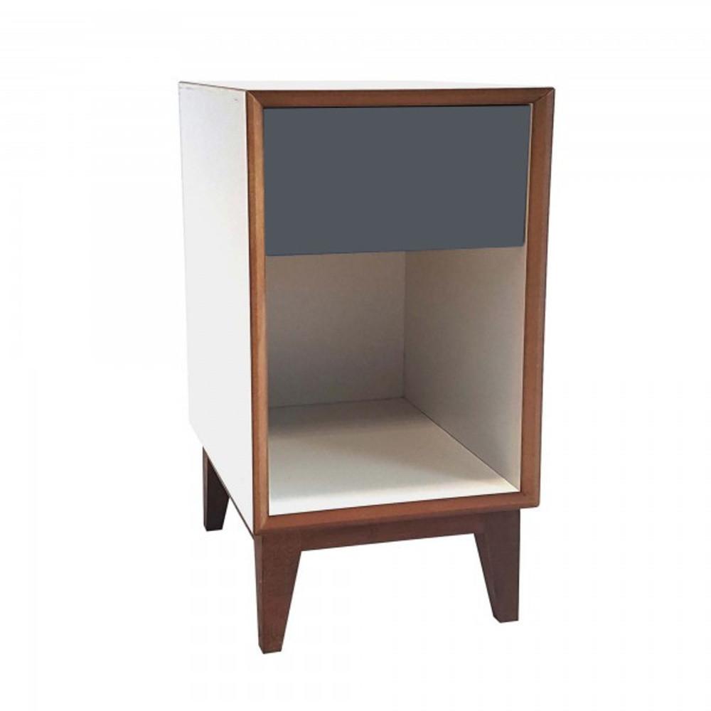 Veľký nočný stolík s bielym rámom a grafitovou zásuvkou Ragaba PIX