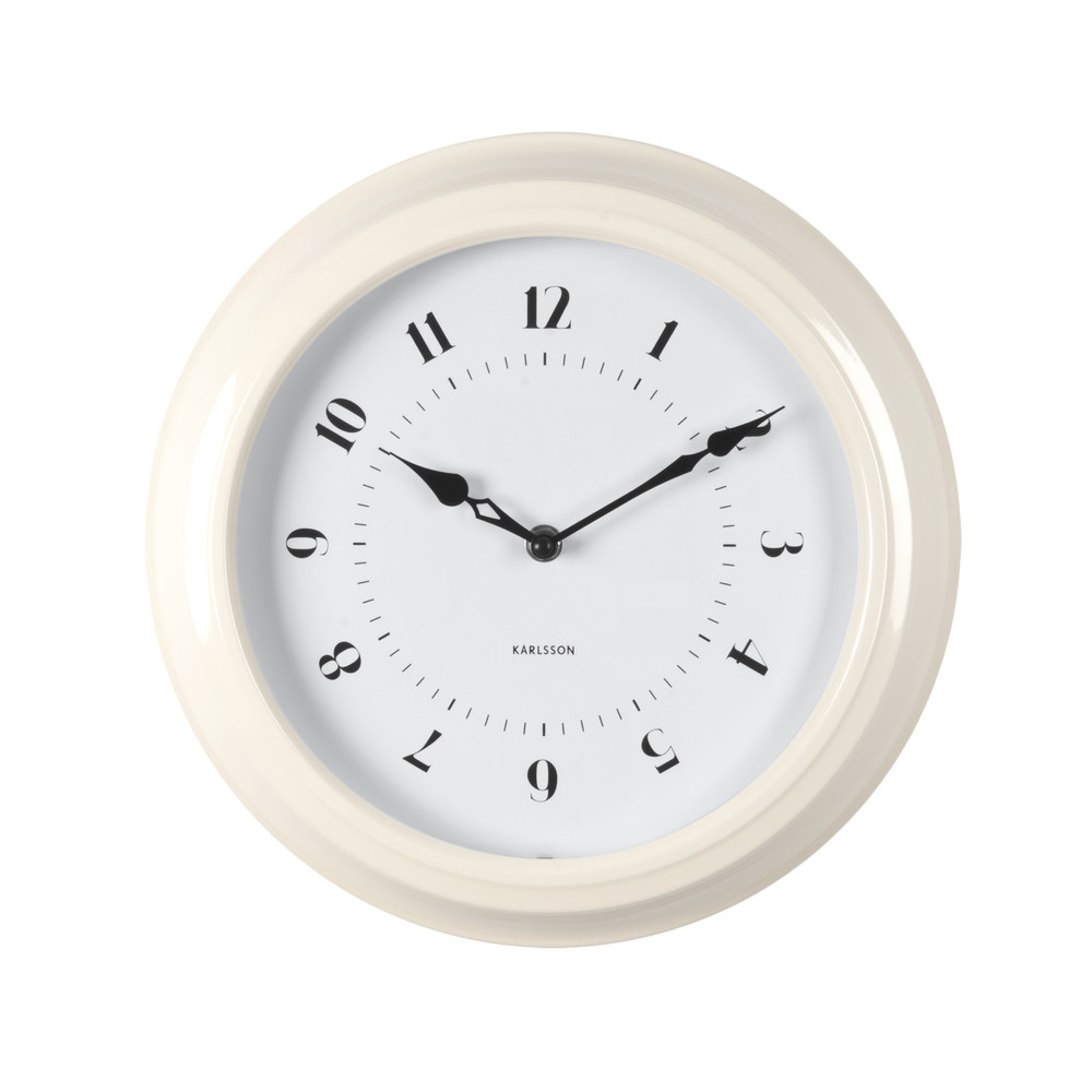 Krémové nástenné hodiny ETH Fifties, priemer 30cm
