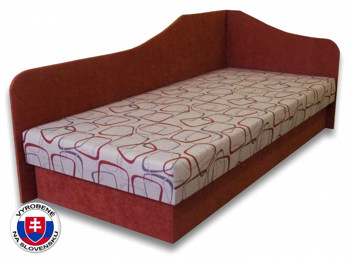 Jednolôžková posteľ (váľanda) 80 cm Lux 87 (Tehlová 41 + Dodo 1008) (P)