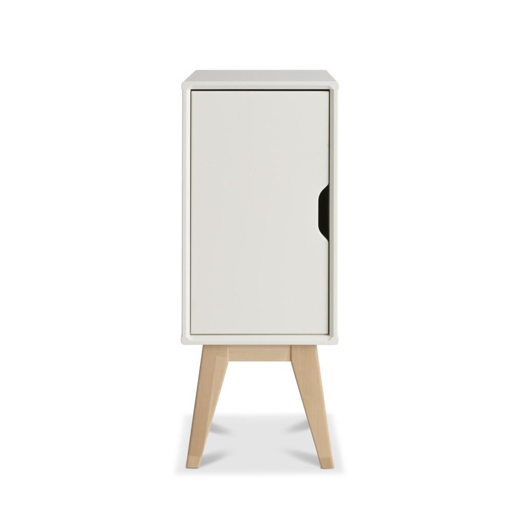 Biely ručne vyrobený nočný stolík z masívneho brezového dreva KiteenKolo