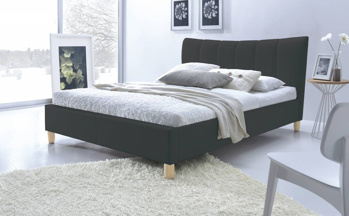 Manželská posteľ 160 cm Sandy (čierna) (s roštom)