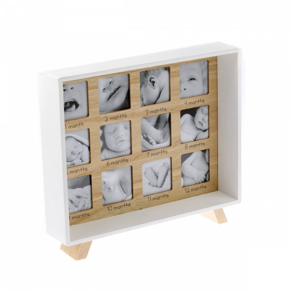 Drevený stojací fotorámček Prvý rok života,  25,5 x 29,5 cm