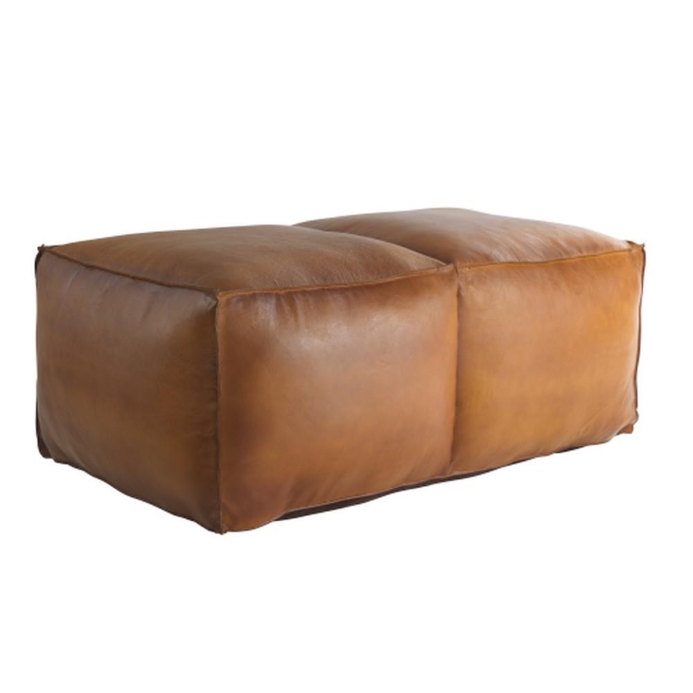 Hnedý kožený puf Fuhrhome Memphis Large