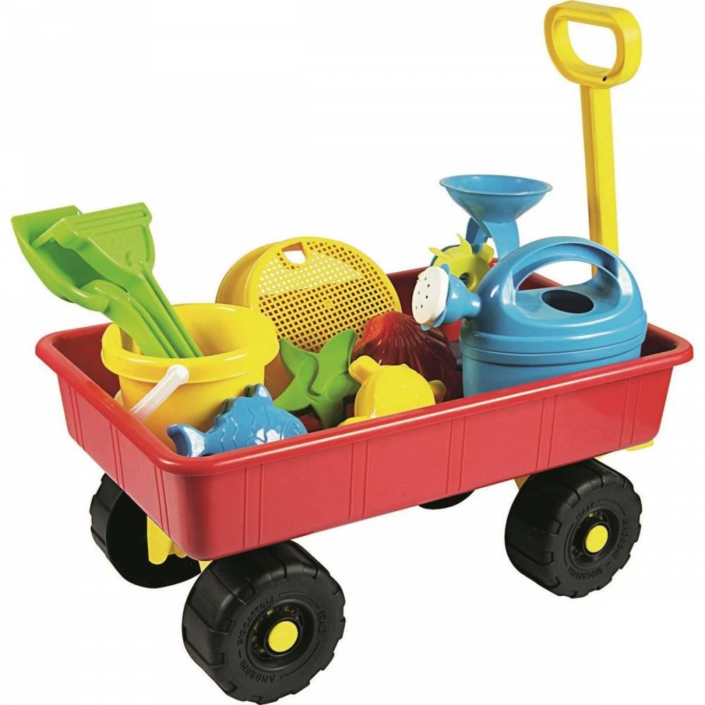 Detský záhradný vozík s príslušenstvom, červená