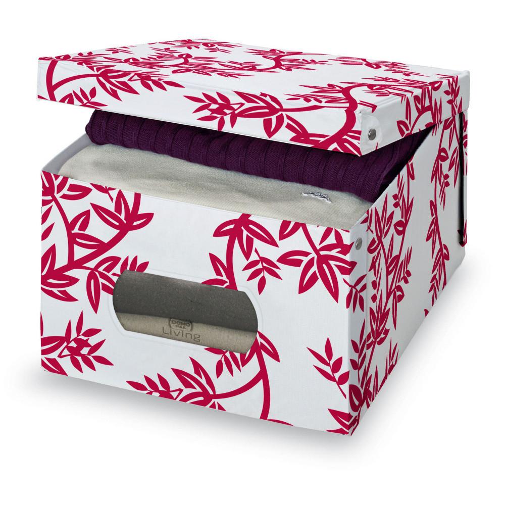 Červeno-biely úložný box Domopak Living, veľ. L